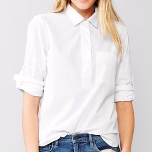 GAP Seersucker Roll-Sleeve Popover Optic white SzM